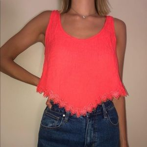 Bright orange crop top